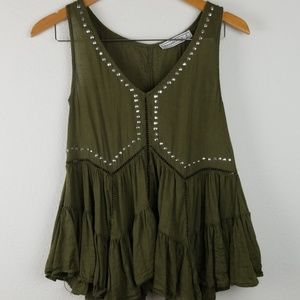 Abercrombie Babydoll top studded army green S